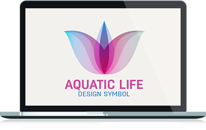 Aquatic Life Abstract Logo in Laptop Format
