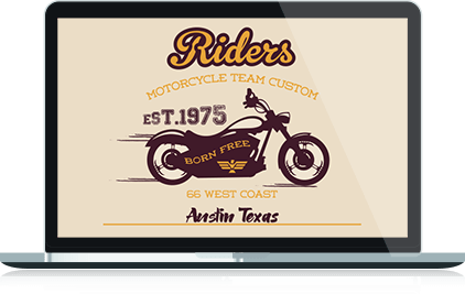 Austin Motorcycle Team Custom Logo Design in Laptop Format