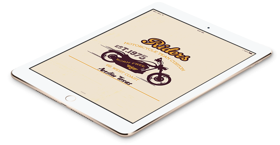 Austin Motorcycle Team Logo Design In Tablet Format