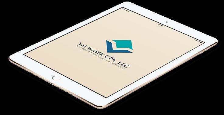 VM WASEK CPA, LLC Law Logo In Tablet Format